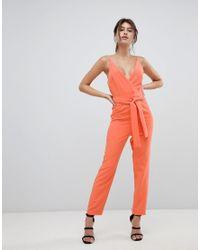 0dfe06af4446 ASOS Wrap Front Jumpsuit With Peg Leg And Self Belt in Orange - Lyst