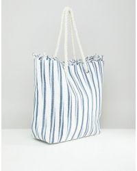 South Beach - Multicolor Straw Striped Beach Bag - Lyst
