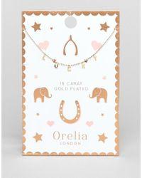 Orelia - Metallic Lucky Charm Script Necklace - Lyst