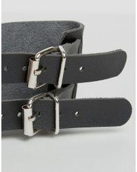 Monki | Black Double Buckle Bracelet | Lyst