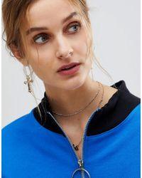 Reclaimed (vintage) - Metallic Inspired Drop Cross Earrings (+) - Lyst