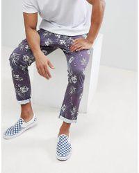 ASOS - Blue Slim Cropped Pants In Vintage Washed Out Leaf Print for Men - Lyst