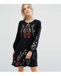 New Look | Black Floral Embroidered Skater Dress | Lyst
