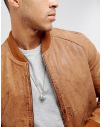 ASOS - Metallic Neckchain With Ring Pendants In Burnished Silver for Men - Lyst