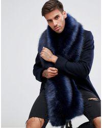 ASOS - Blue Faux Fur Scarf In Navy for Men - Lyst