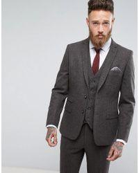 Moss Bros Moss London Skinny Suit Jacket In Brown Tweed for men