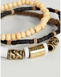 Classics 77 - Brown Wood & Cord Bracelet In 3 Pack for Men - Lyst