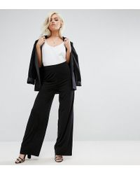 ASOS - Black Slinky Wide Leg Pants - Lyst
