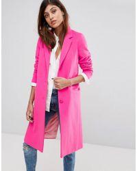 Helene Berman - Pink Wool Blend College Coat - Lyst