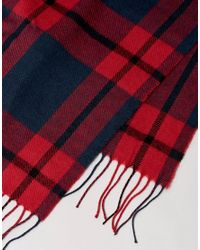 Esprit - Scarf With Red Check for Men - Lyst