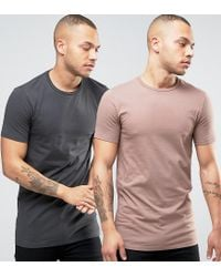 ASOS - Natural 2 Pack Longline Muscle T-shirt In Washed Black/beige Save for Men - Lyst
