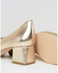Carvela Kurt Geiger - Metallic Antidote Gold Leather Mid Heeled Shoes - Lyst