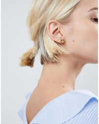 ASOS DESIGN - Metallic Asos Gold Plated Sterling Silver Brushed Square Chain Drop Earrings - Lyst