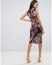 ASOS - Black Dark Floral Soft Cut Out Pencil Dress - Lyst
