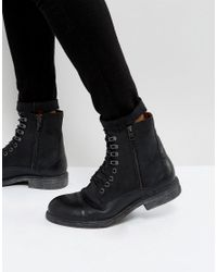 SELECTED - Trevor Leather Tall Lace Up Boots In Black for Men - Lyst