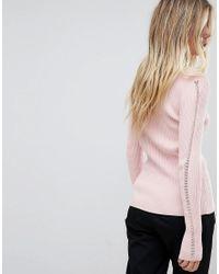 French Connection - Pink V Neck Jumper - Lyst