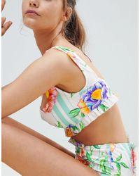 ASOS DESIGN - Multicolor Fuller Bust Hidden Underwire Floral Stripe Frill Square Neck Crop Bikini Top Dd-g - Lyst