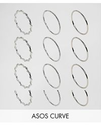 ASOS - Metallic Pack Of 12 Wrap And Faceted Rings - Lyst