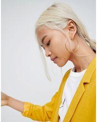 ASOS - Metallic Gold Plated Sterling Silver 60mm Flat Edge Hoop Earrings - Lyst