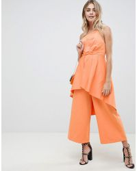 6fc9a9962361 Women s Orange Occasion Jumpsuit In Structured Fabric With Overlay Detail