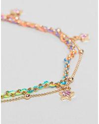ASOS - Metallic Design Multicolor Woven Star Charm Multirow Anklet - Lyst