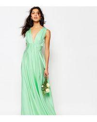 Fame & Partners | Green Valencia Satin Maxi Dress | Lyst