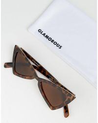 Glamorous - Brown Tortoiseshell Slim Cat Eye Sunglasses - Lyst