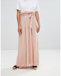ASOS | Pink Maxi Skirt With Belt And Thigh Split | Lyst