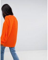 ASOS - Orange Oversized Jumper In Ripple Stitch - Lyst