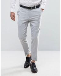 100280aae219 ASOS Skinny Trouser In Pale Grey With Turn Up in Gray for Men - Lyst