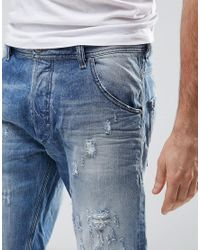 DIESEL - Blue Krowshort Distressed Denim Shorts for Men - Lyst