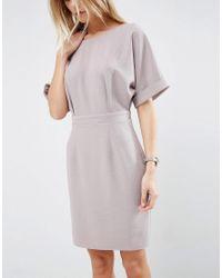 ASOS - Gray Mini Wiggle Dress - Lyst