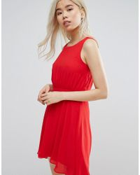 Zibi London - Red Skater Dress With Pleat Detail - Lyst