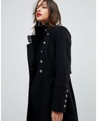 Mango - Black Flare Sleeve Button Military Coat - Lyst