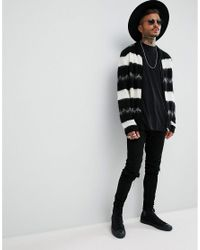 ASOS - Black Bomber Jacket In Monochrome Stripe for Men - Lyst
