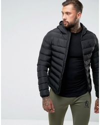 4857aa429b82 Lyst - Gym King Puffer Jacket In Black With Hood in Black for Men