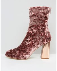 Missguided - Pink Velvet Blocked Heeled Sock Boots - Lyst