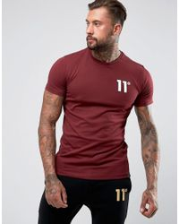 11 Degrees - Red Muscle T-shirt In Burgundy With Logo for Men - Lyst