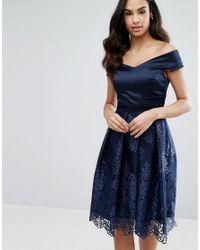 Vesper - Blue Off Shoulder Midi Dress With Lace Skirt - Lyst