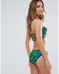 South Beach - Green Balconette Longline Palm Print Bikini Set - Lyst