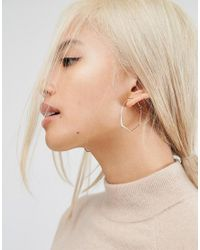 ASOS - Metallic Ultra Fine Abstract Hoop Earrings - Lyst