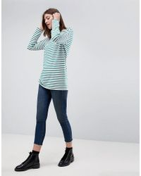 ASOS - Blue Stripe T-shirt With Long Sleeve In Oversize Fit - Lyst