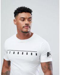 ASOS - White Muscle Super Longline T-shirt With Stubborn Chest And Sleeve Print And Curved Hem for Men - Lyst