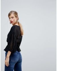 ASOS - Black Design Sheer Waisted Poets Sleeve Blouse - Lyst