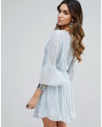 Free People - Blue Winter Solstice Embellished Party Dress - Lyst