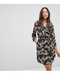 ce4625d87a7c Oasis Floral Print Tie Front Shirt Dress in Black - Lyst