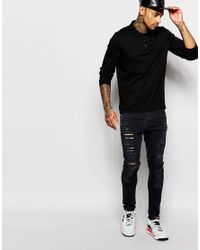 ASOS - Long Sleeve Jersey Polo In Black for Men - Lyst