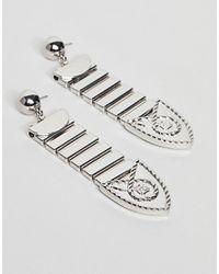 ASOS - Brown Metal Tipped Buckle Earrings - Lyst