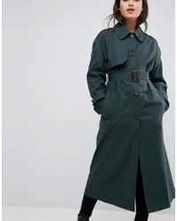 ASOS - Green Single Breasted Oversized Trench - Lyst