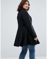 ASOS | Black Swing Coat With Full Skirt | Lyst